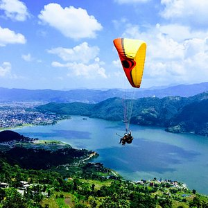 Paragliding view from Padeli Park during the monsoon season