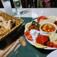 the mixed starter dish with flatbread