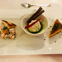 Starter with Toast Skagen, Smoky Fish Mousse etc.