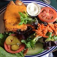 Halibut burger with salad