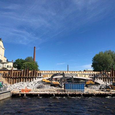 Hämeensilta under construction in June 2018