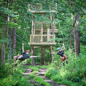A tandem zipline at Wetland Zipline Park. Great fun for friends of all ages!