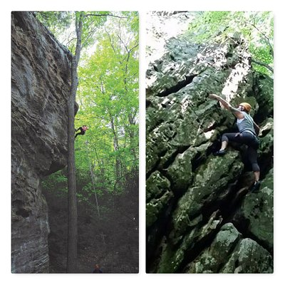 Rappelling and Climbing, two of several tours you do at High Rock Adventures/Hocking Hills Ecoto