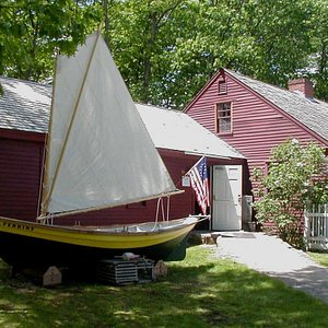 Entrance to the OHM with a replica of W. H. Perkins' dory