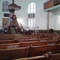 Pulpit and oak pews