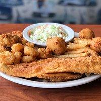Oysters, Shrimp & Flounder Combo Platter