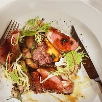 Cannon of Lamb - ous vide loin, roasted foraged mushrooms, artichokes, tapenade, charred cipolli