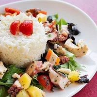 Lunch al Caffè Mastai: insalata di polipo e polpa di granchio