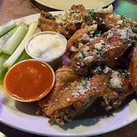 Garlic Parmesan Wings With Hot Sauce On The Side