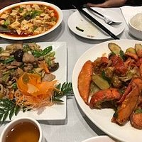 Mo Po Tofu, Rice and twin Lobster special.