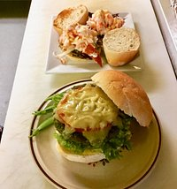 Grass fed burger and lobster sliders