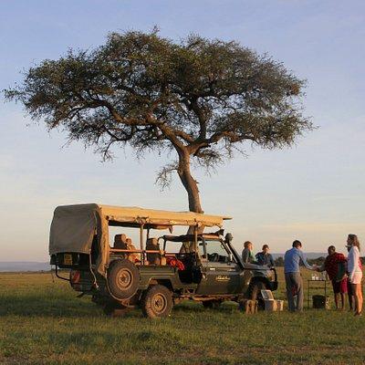 Enjoy a sundowner on your game drive (photo by Roelof Schutte @ Naboisho Camp, Kenya)
