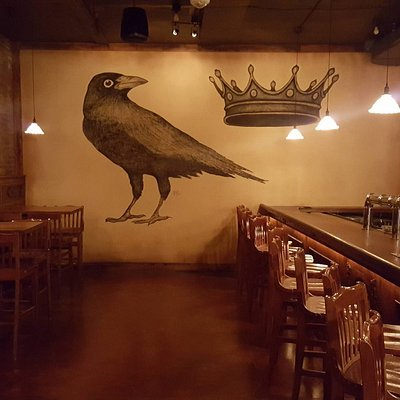Crown and Crow mural created by owner Brian Harrison