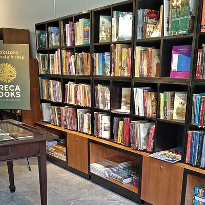 Book display showcasing a variety of titles