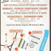 Flier for downtown Farmer's Markets