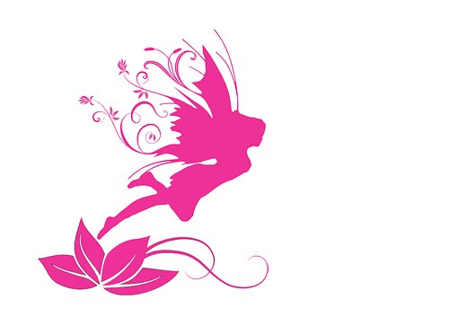Shop Logo of a pink pixie on a lily leaf