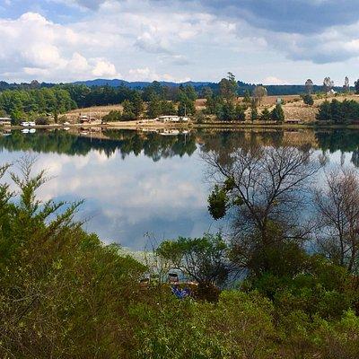Pequeña represa en medio de bosques