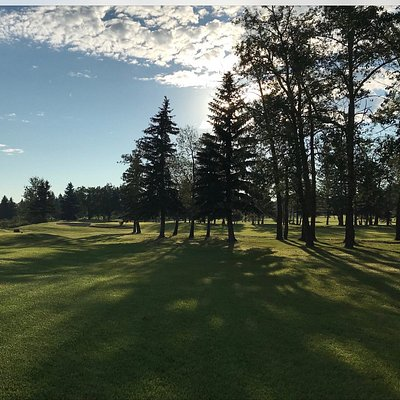 View from the 9th tee looking at the 8th green.