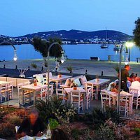 Veranda view Filomila restaurant Finikas Syros
