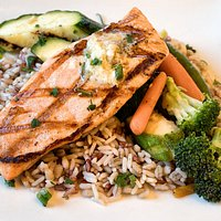 Grilled Salmon Over Rice (Garden Grille & Bar)