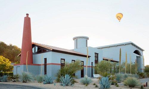 Hot air balloon high above the estate