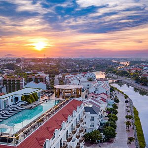 The highest rooftop bar in Hoi An with sweeping views overlooking the ancient town, its surroudi