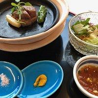 grilled dish (Japanese beef steak, grilled vegetables and salad)