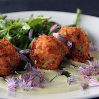 salt fish croquette (the fish was halibut) In the Weeds daisy greens, bagna cauda, In the Weeds