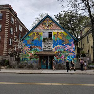 Interesting place filled with expressive art and a unique history. The artists hold a donation b