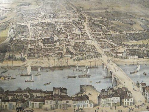 Plan Faisandier, vue de Bergerac de 1856