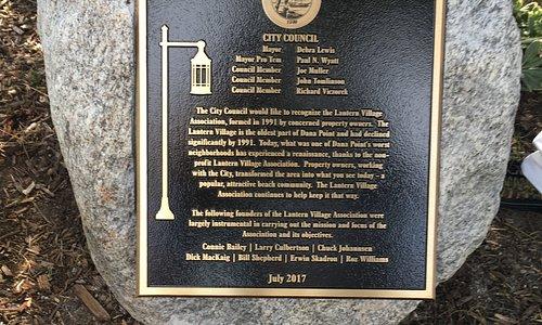 Lantern Village Association commemorative plaque