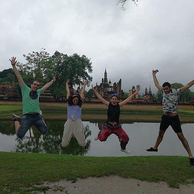 Jumping at Sukhothai Historical Park