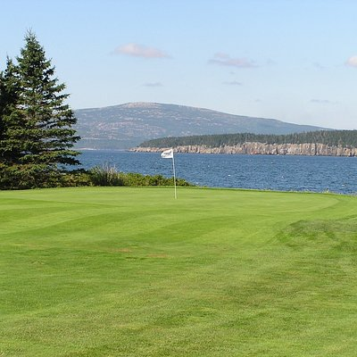 """Hole #2 """"Ironbound"""" with breathtaking views of Frenchman Bay, MDI, and Ironbound Island."""