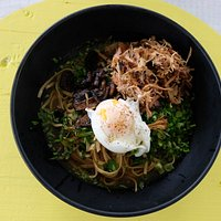 Smoked Pork Ramen: Noodles in a rich broth served with a poached egg
