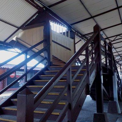 Wooden stairs between platforms