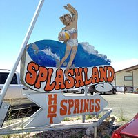Sign for hot springs pool.
