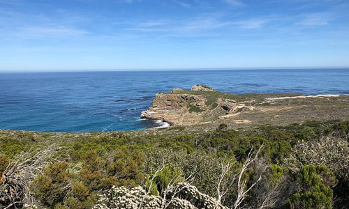 View from the trail walking up Cape Point to the lighthouse