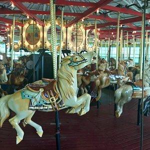 Lovingly restored hand carved horses