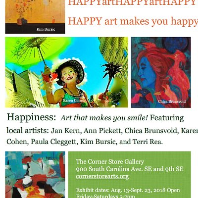 Gallery  party for HAPPINESS group art exhibit featuring local, award winning DC artists