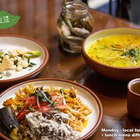 What a fixed lunch (almuerzo) looks like. Mondays are local food made vegan. Reservation suggest