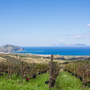 Veduta sul promontorio del Tindari, riserva naturalistica di Marinello e Isole Eolie sullo sfond