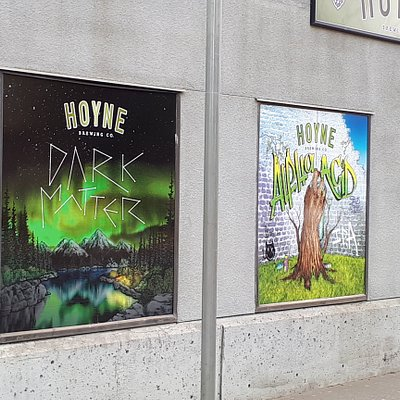 Hoyne beer labels decorating the brewery walls