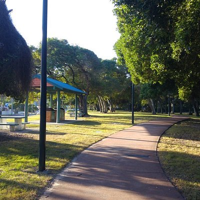 The walkway and park near the beach