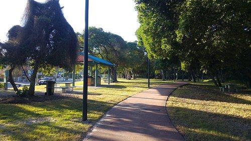 The walkway and park near the beach