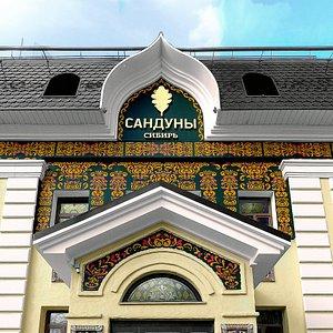 Центральный вход в банный комплекс Сандуны Сибирь. Ручная роспись фасада