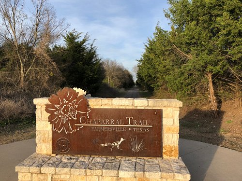 The Chaparral Trail just as you are riding out of the Farmersville city limits.