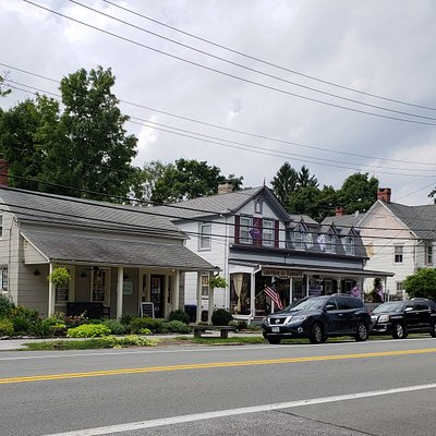 shops from restaurant front porch