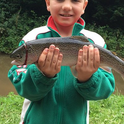 His first catch - rainbow trout