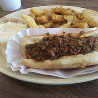 Chili Dog Plate with Gravy Fries & Slaw