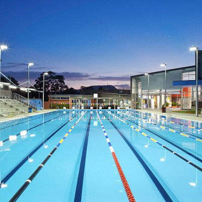 Our 50m pool under lights